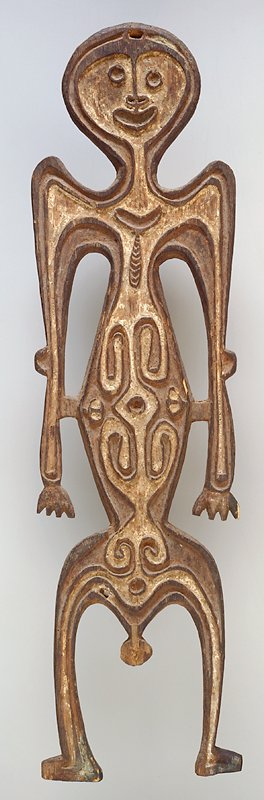 standing male figure carved from board; carved on one side; relief carving at interior, appearing to represent bone structure and colored with white pigment; hole at top of head for hanging