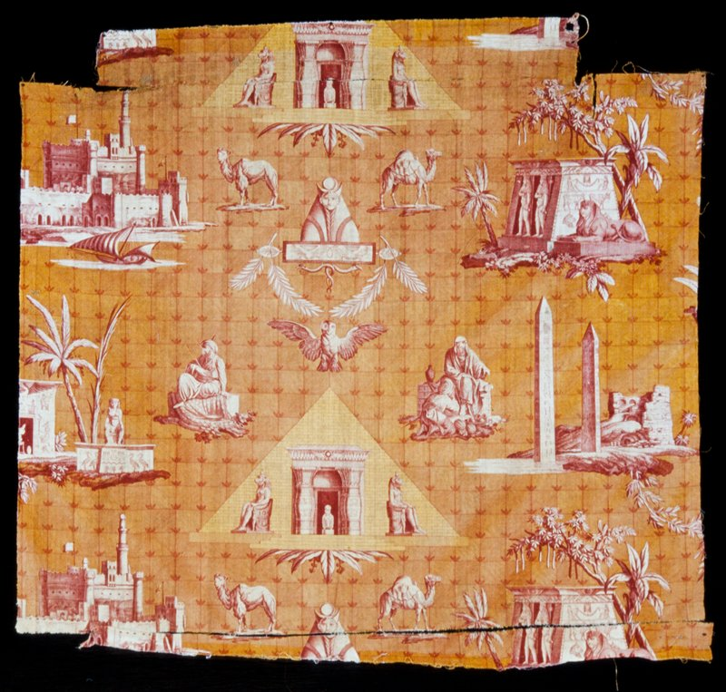 Toile, piece of in SCENES OF EGYPT pattern. Polychrome printing with orange and rust predominating. Torn at upper edge. (1940).; two pieces have seperated from the main portio of the fabric, now in TBox 807 MS, 11/3/2000.