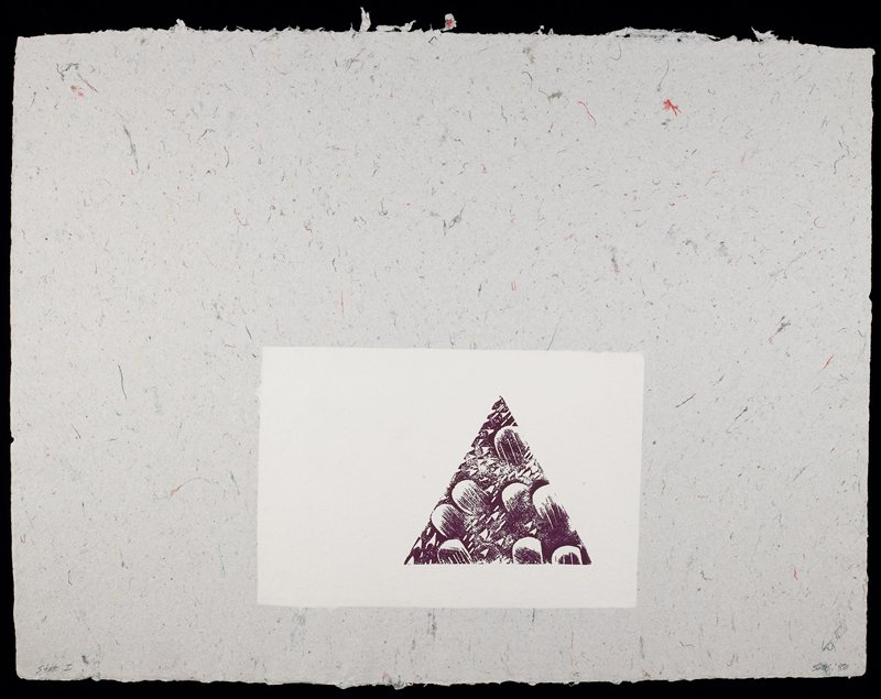 Nearly empty composition featuring a small purple triangle composed of non-descript forms and superimposed over a plain white rectangle