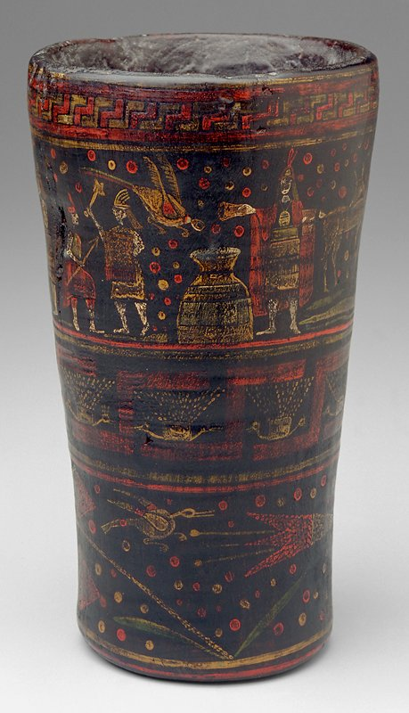 Cup with painted designs in yellow, red and white; from top down band of geometric designs, band of figures and animals, band of stylized birds and geometric shapes, band of stylized flowers and birds