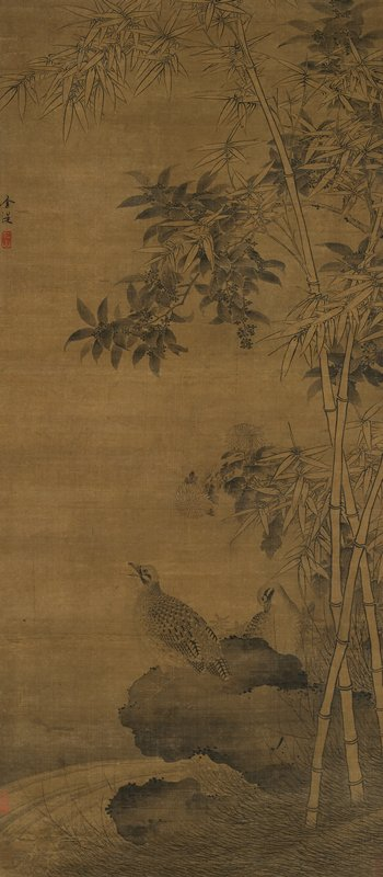 two quails on a rock over water; tall bamboo plants at right; large flowers above birds' heads