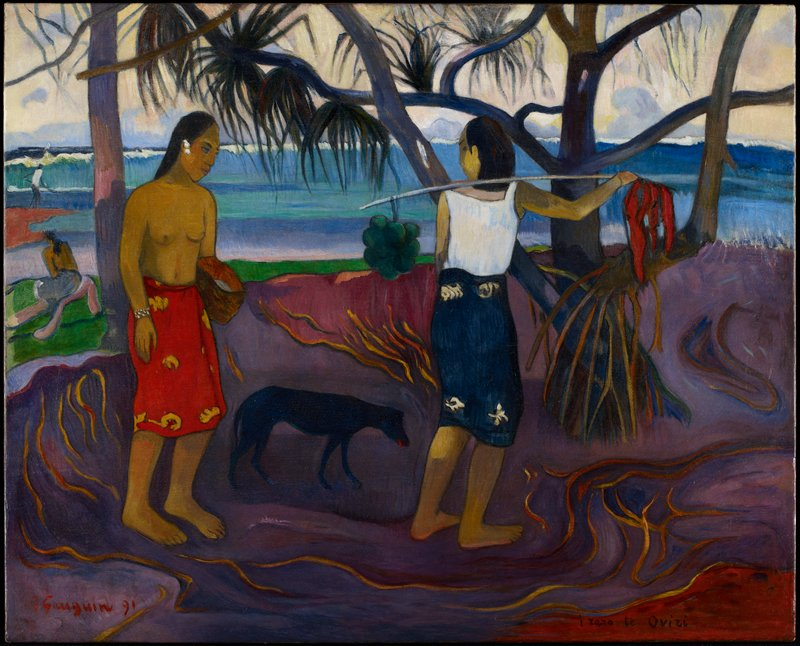 Nabi. Tahiti. Landscape with two females and a dog.