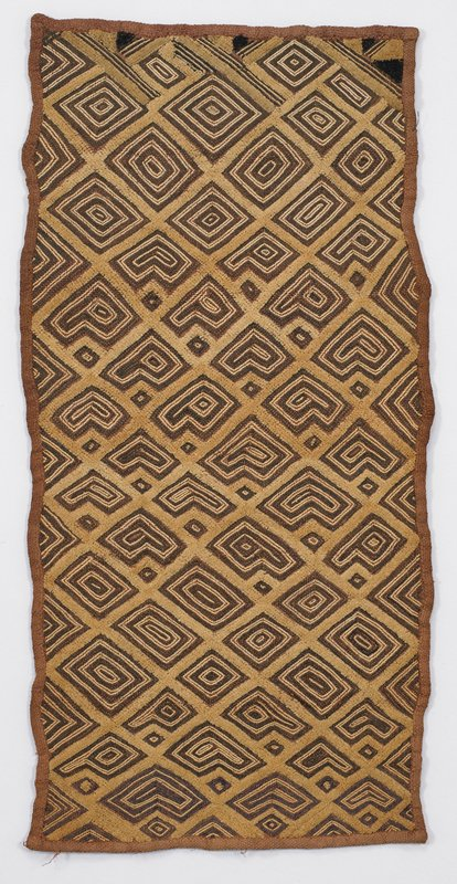 tan and brown, with geometric diamond motif design; 4 dark brown triangles on one short side