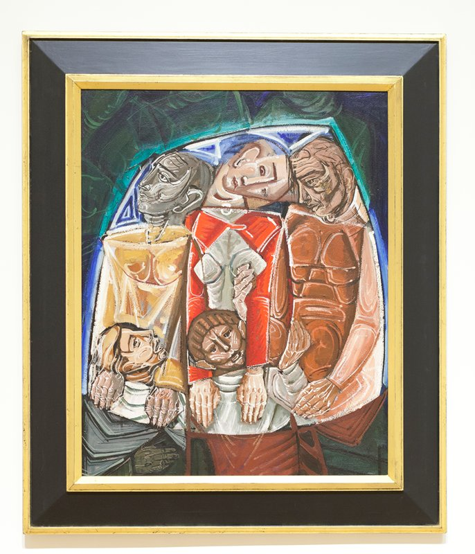 3 abstracted standing men resting their hands on the shoulders of 2 kneeling men; blues and greens at top