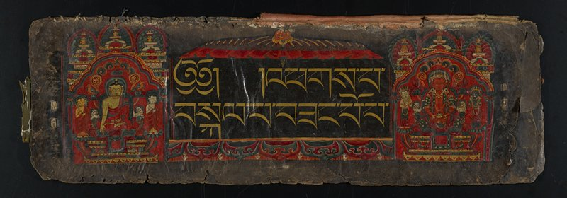 2 separate lacquer covers (black on exterior, red on interior); maroon covering cloth; separate leaves with white Tibetan text on one side, text flanked by drawings on opposite side of most leaves
