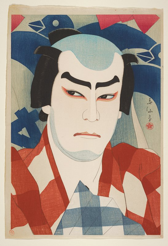 portrait, mica on fan; head and shoulders of a man wearing a red and white kimono; blue bird pattern in background