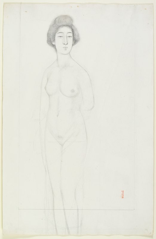 unsigned; standing nude woman with her PL arm behind her back