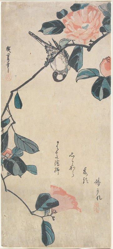 歌川広重『椿に小鳥』