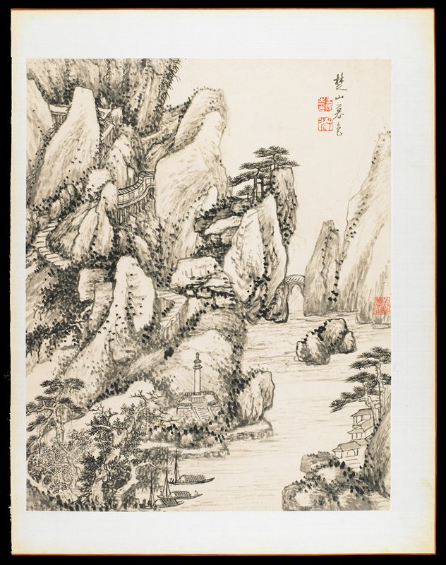 buildings at LRC; tower at bottom near center; 3 boats at bottom center; water at L; rocky landscape with walkways and bridges; from an album of 12 drawings in ink and wash; short inscription and stamps in red