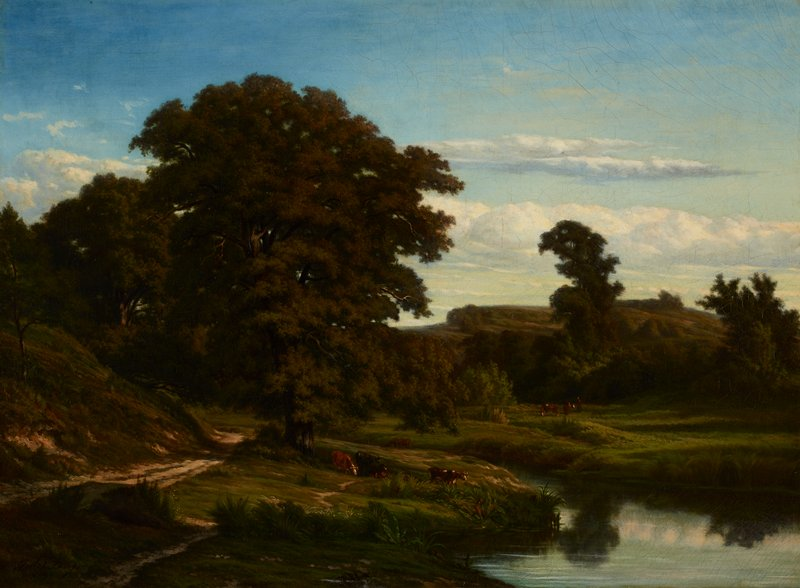 landscape with pond at LR, cows at center