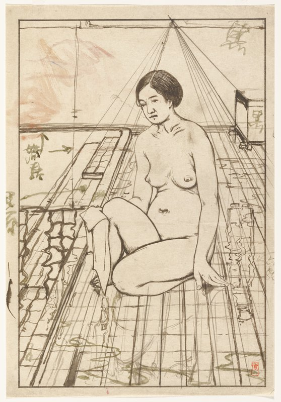seated nude woman with one knee drawn up, holding a cloth to her leg; lines on floor beneath woman extend back to perspective point