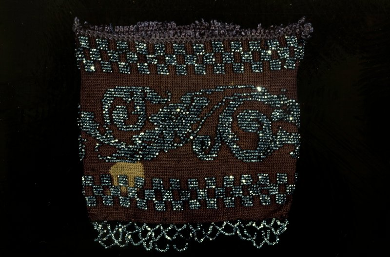 Bag, small square bag of plum-colored silk crochet, with cut-steel bead borders and interlacing fringe.