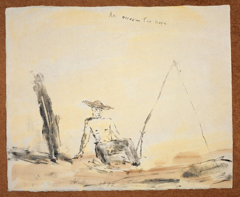 """Man in a wide rimmed hat and long dark pants; he sits in the foreground; A large tripod-like object on his L; a barren tree on his R; the words """"An Occasion for Hope."""", inscribed, UC; yellow and brown background"""