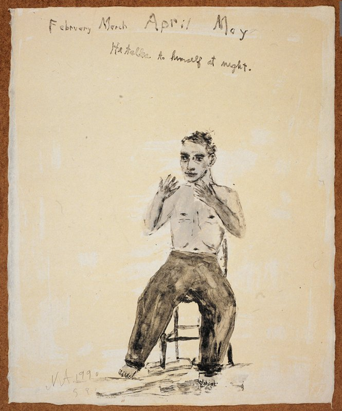 """Man in the middleground naked from the waist up; he sits in a chair facing forward and gestures with his hands; the words """"February March April May/He talks to himself at night"""" inscribed, UC; predominant colors: blue, grey and yellow"""