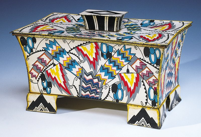 Rectangular lidded container with multicolored designs