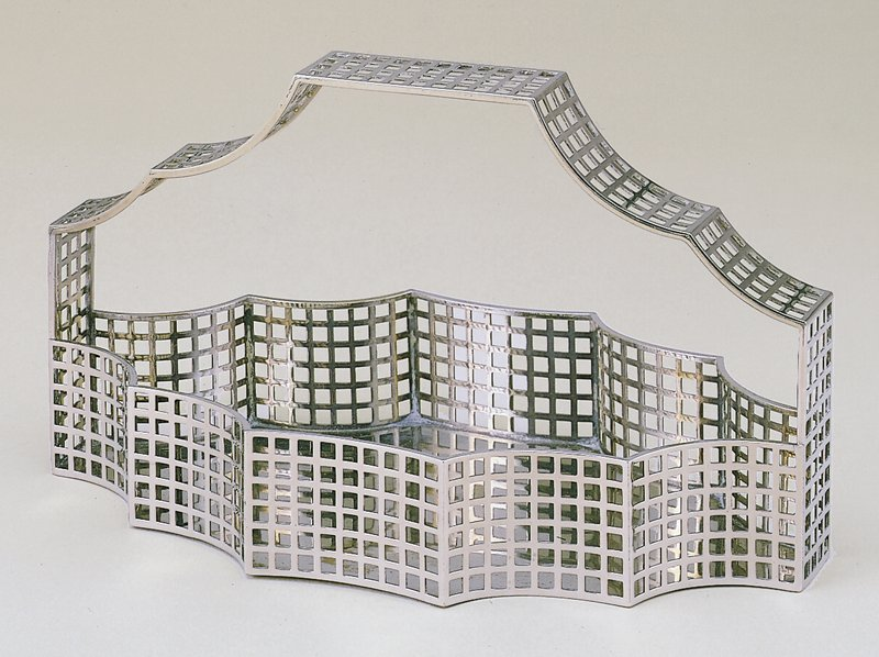 Ten-sided basket consisting of square grid cut-out decoration; grid handle