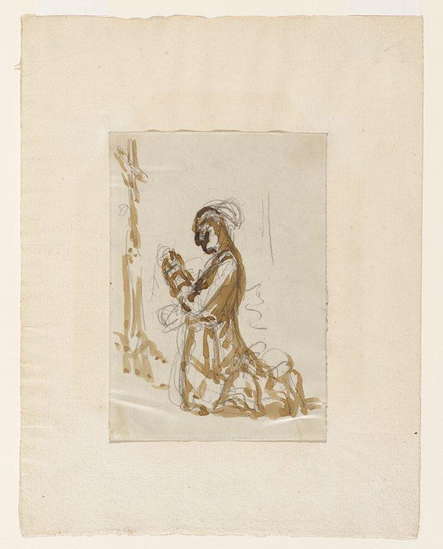 sketch of figure kneeling before a cross; figure seen from PL side, in profile