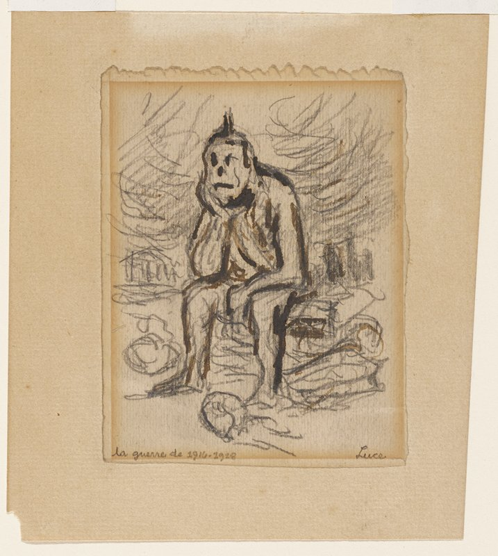sketchy image of seated figure with abstracted features, PR hand under chin, PL elbow resting on leg