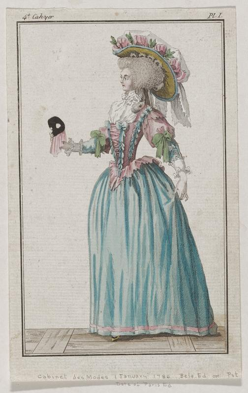 Woman in an elaborate blue, pink, and white hat and a frilly blue and pink gown decorated with blue and green ribbons holding a black mask with pink cloth