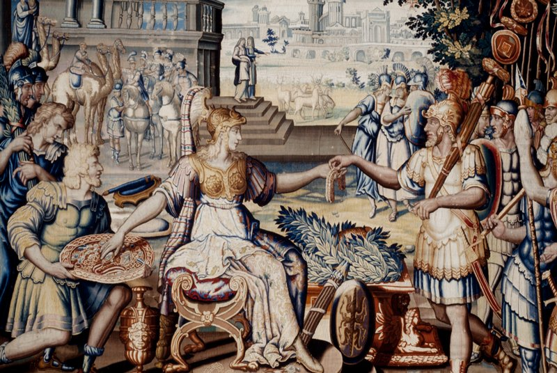 A piece from the tapestry cycle woven for Marie de' Medici, The Stories of Queen Artemisia, based on an epic account by Nicolas Houel; weaving attributed to the workshop of Lucas Wanderdalle in the Faubourg Saint-Marcel manufactory of Marc de Coman and François de la Planche; warp undyed wool, 6½-8 ends per cm., weft dyed wool and silk, 20-48 ends per cm.