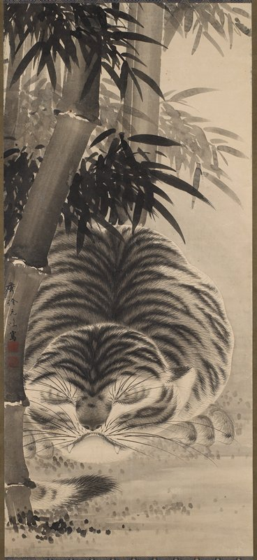 sleeping tiger with bamboo at L and above; green and blue and gold borders