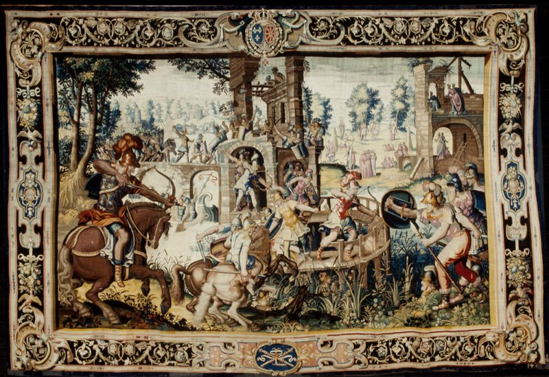 a piece from the tapestry series woven for Marie de' Medici, The Stories of Queen Artemisia, based on an epic account by Nicolas Houel; weaving attributed to the workshop of Lucas Wandandalle in the Faubourg Saint-Marcel Manufactory of Marc de Comans and François de la Planche; warp undyed wool, 7-8 ends per cm., weft dyed wool and silk, 20-48 ends per cm.