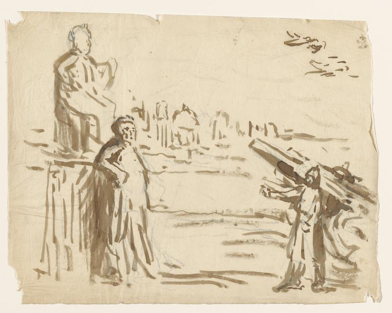 2 large figures at left: figure in ULC seated, figure in LLC standing; soldier in front of cannon, LRC
