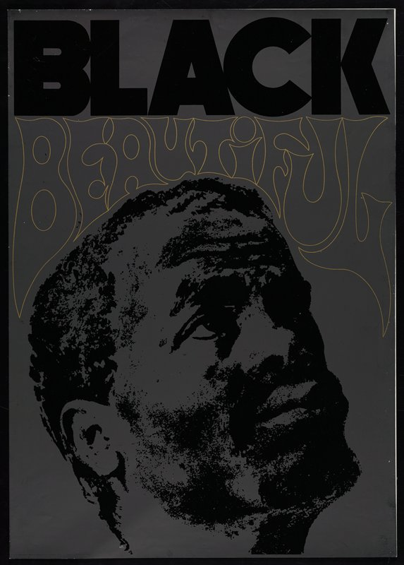 Image of a man's face on dark gray background; text at in black and gold ink