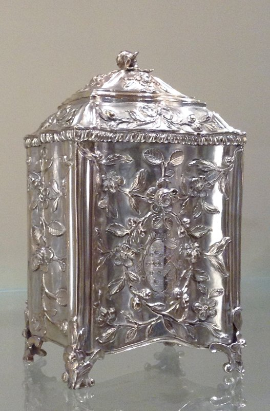 one of a set of three tea caddies with sharkskin case