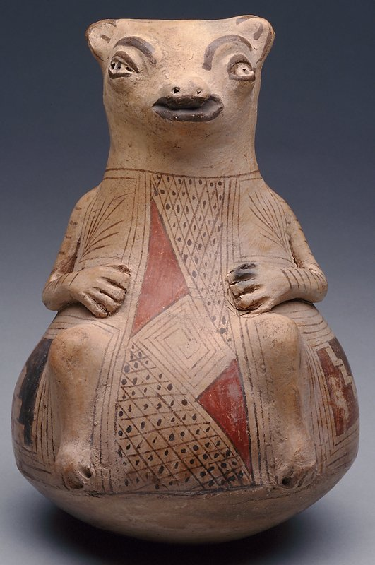 bear effigy pot, polychrome earthenware; Mexico Casas Grandes; red, black, and brown on cream slip, applique arms and legs