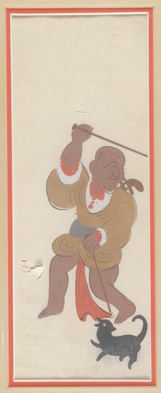 Bald man carrying two slender staffs staff in PL hand rests on ground, staff in PR hand held above head; black dog at feet