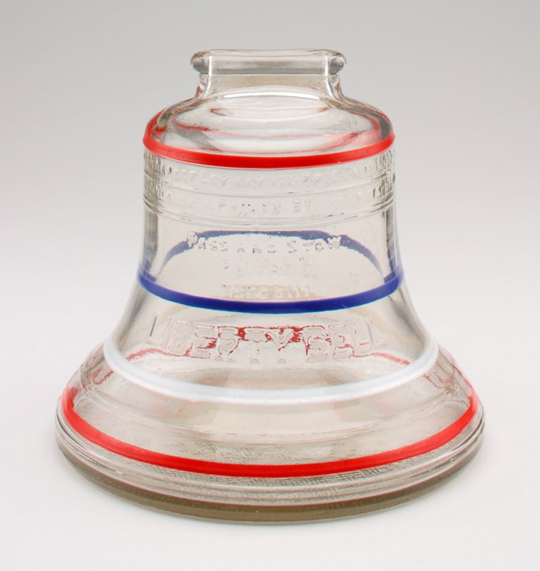 clear glass; moulded in the shape of a bell, with inscriptions; 4 colored stripes: blue, white and 2 red