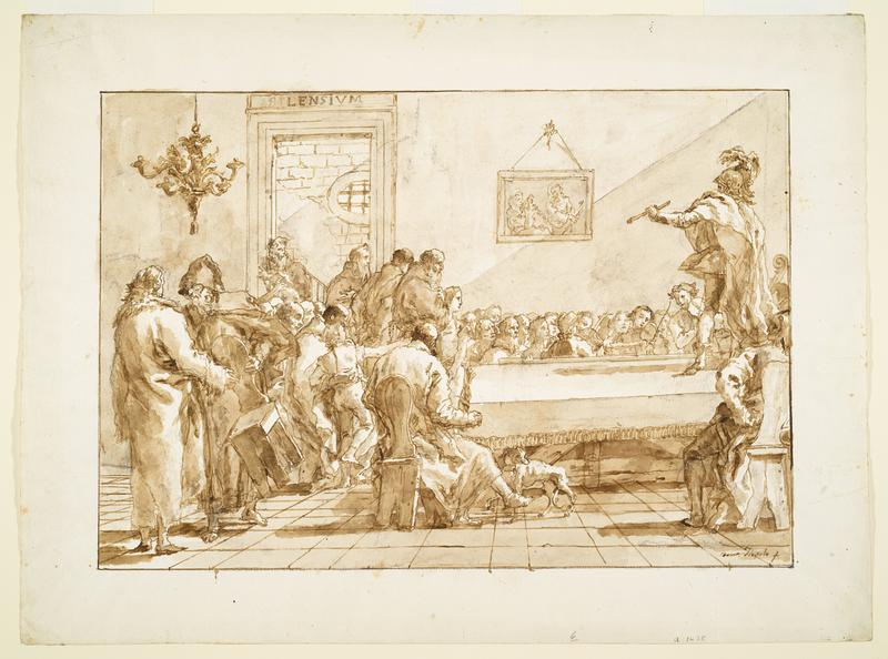man standing on table at L with many people in room surrounding him including musicians
