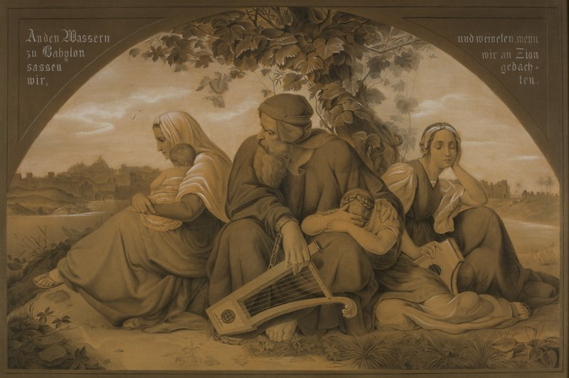 Three women, an older man and a baby all sitting on the ground together; the woman to the right is leaning against a tree; cityscape on horizon