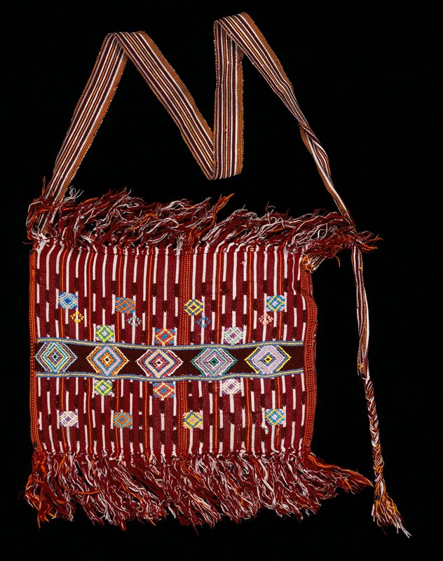 One-panel cotton bag with burgundy stripe; geometric patterns in pink, yellow, blue, orange, green.