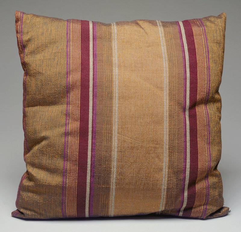 olive green, purple, maroon, tan and white stripes of various widths; plain weave