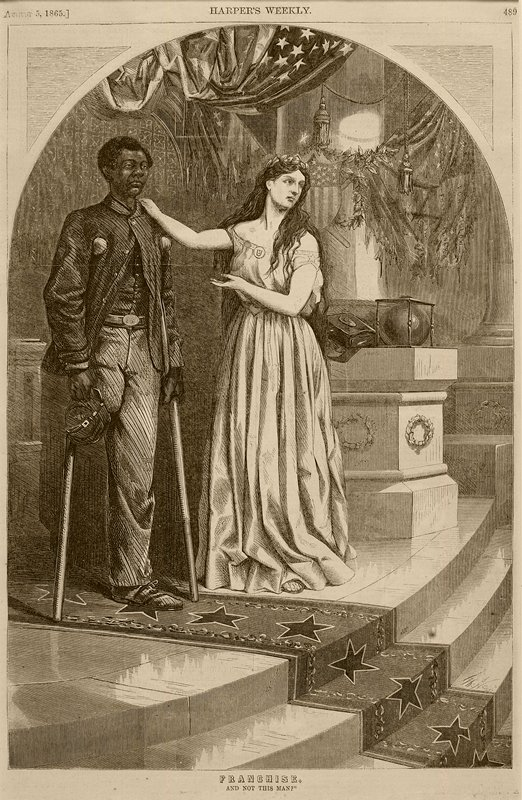 standing female figure wearing gown and acantus leaf crown, with her PR hand on the shoulder of a black soldier, missing his PR leg, on crutches