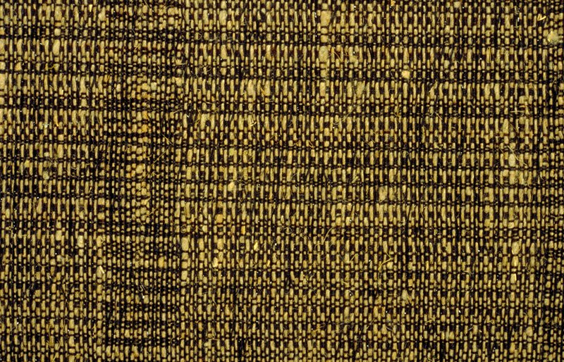 """Plain weave, black warp, natural and black weft. Black weft alternates with linen and metallic.Horizontal stripes formed by the use of more black threads? The appear approx. every 2 1/2 - 3"""". Black"""