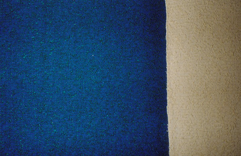 Variation on a plain weave:Blue warp and weft. Blue weft separated by thicker green weft threads. Variation on a plain weave:Cream warp and weft. Cream weft separated by thicker Cream weft threads. Straw