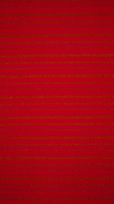 "Dyed wool. Mothproofed. Scotchguarded. Acrylic latex backing. Pattern repeat 8.75"" approx. Plain weave. Red, purple, puce horizontal stripes.. Poinsettia"