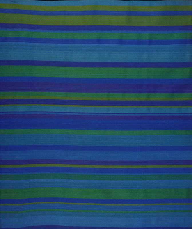 "Twill weave with vert. stripes. From .25"" to 2"" in width. Twill weave in blue and green stripes. Hemmed at both ends (blue/green)"