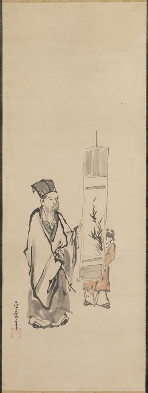 Chinese scholar-official viewing a hanging scroll with a painting of bamboo held by a young servant boy.