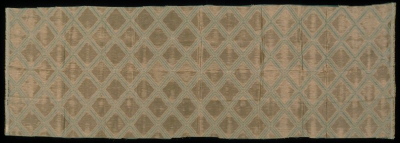 Lighter & darker plain double weave variation interlocked at border points of diamond shape. Moire effect due to interaction of the 2 fabrics in the pocketed areas. Bronze Amber