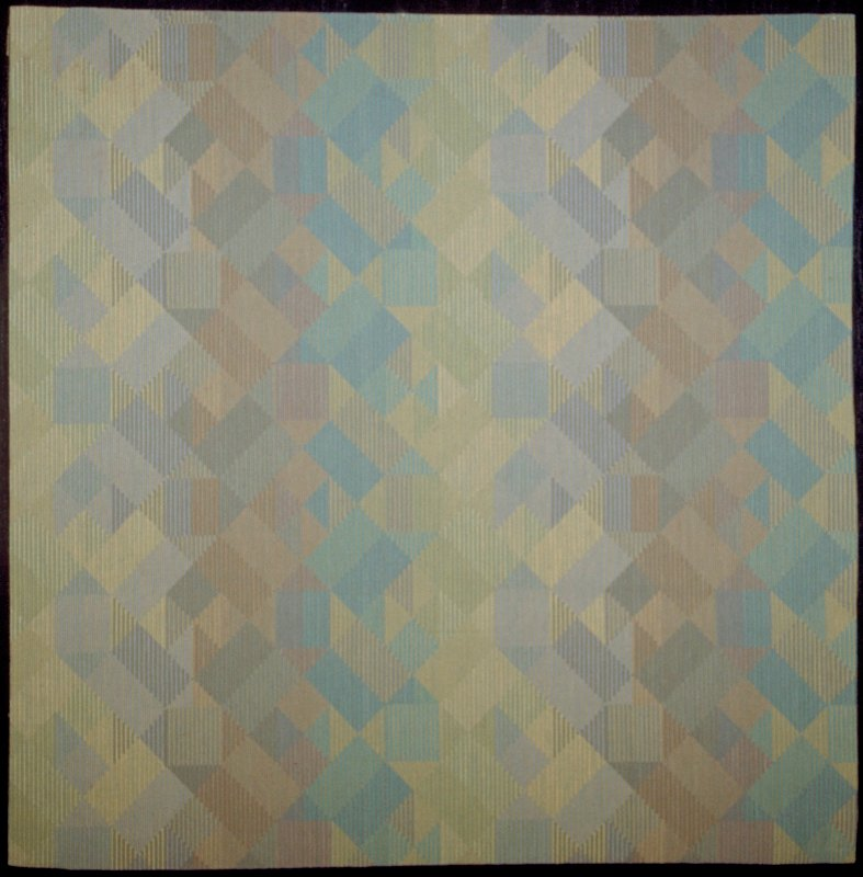 """worsted. Jacquard upholstery. Ribbed weave. 1"""" geo. Squares form straight & diag. Designs.rust, blue, moss green. 12"""" sq. pattern repeat. Opaline"""
