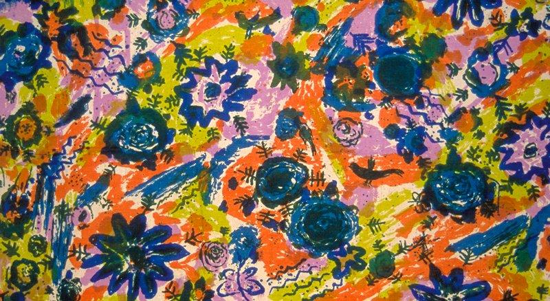 Child-like drawings of birds & Flowers etc. Blue, orange, lime, lavendar Blue & Ochre