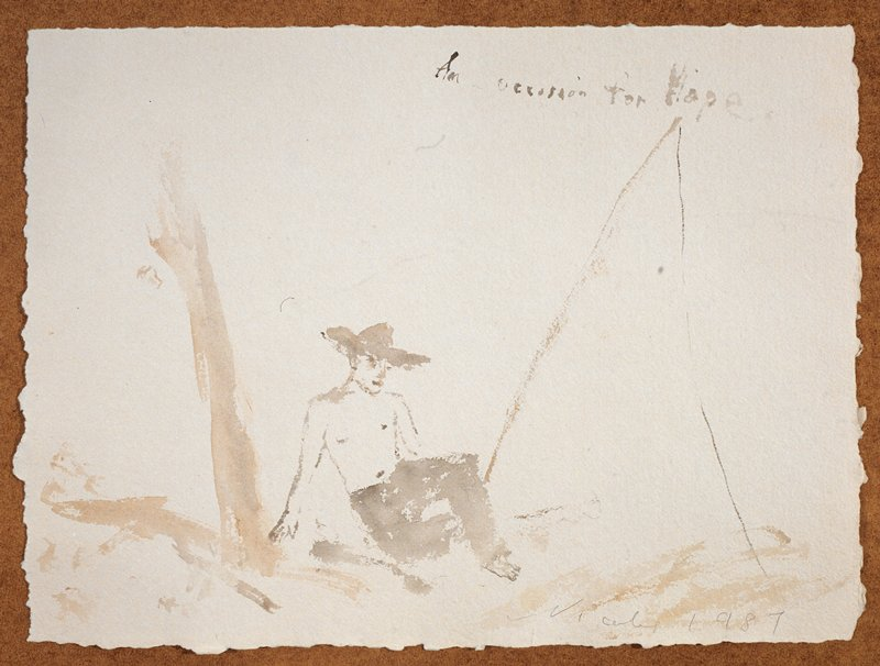 """Man in a wide rimmed hat and long dark pants; he sits in the foreground; A large tripod-like object PL; a trunk-like projection on PR; the words """"An Occasion for Hope."""" scrawled in UR quadrant"""