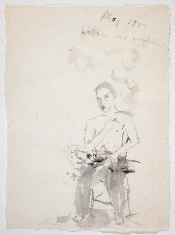 """A man in long pants and no shirt; he faces forward in a chair and holds flowers in his lap; """"May 1987/Lilacs and Smoke"""" scrawled in UR quadrant"""