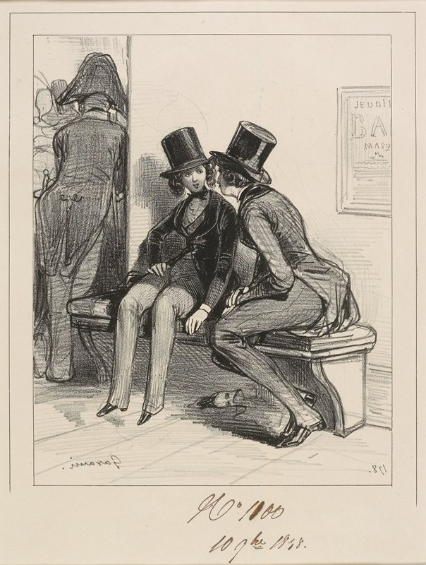 two figures wearing tailcoats, vests and top hats seated on a bench; figure on L appears to be a woman; back of another figure at L