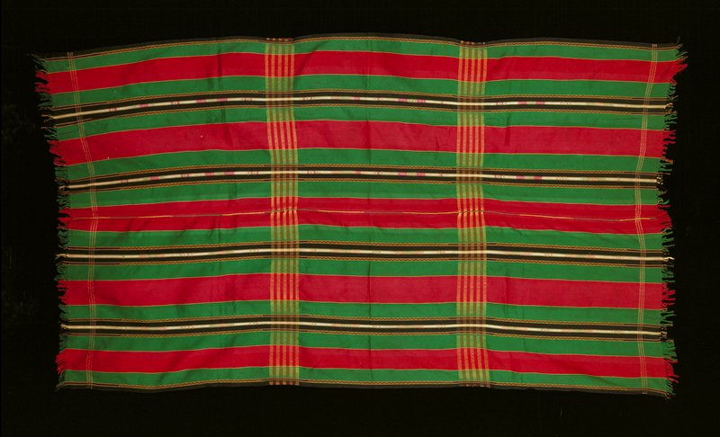 cotton vertical stripes; plain weave; center seam joining two panels; red, green, black