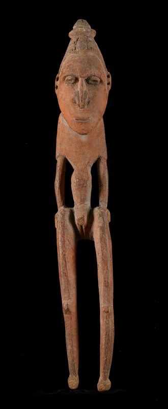 Ancestor Figure (female), 1 of pair, wood, New Guinea (Lower Ramo), XIXc NOTE SAYS ALL OBJECTS ON SHELF 1 ARE FAKES cat. card dims H 21'